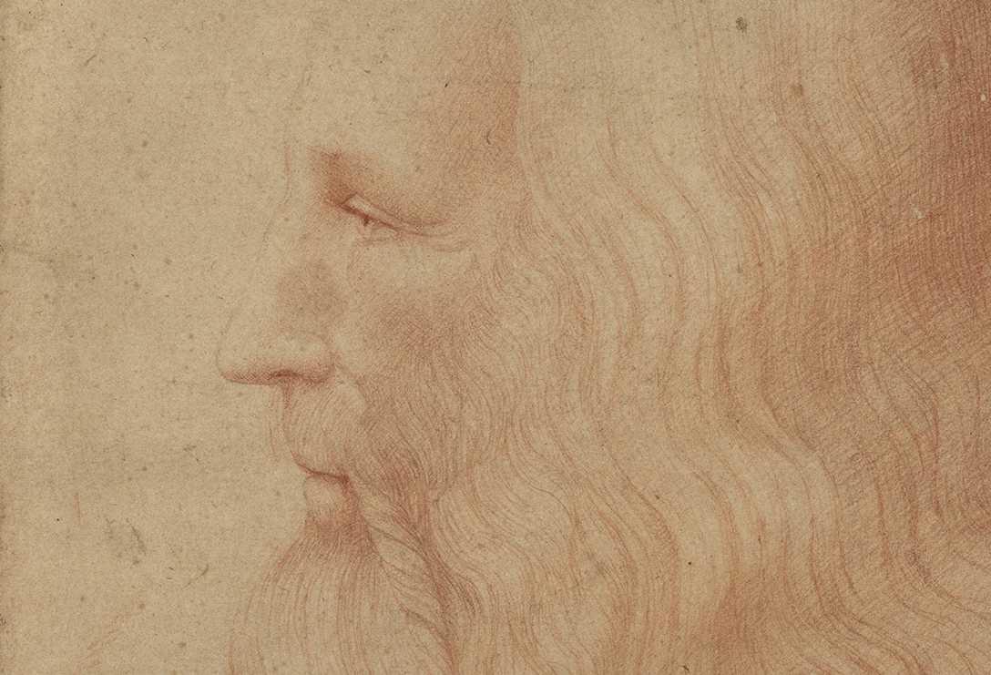 Leonardo da Vinci, på ett porträtt utfört av Francesco Melzi.