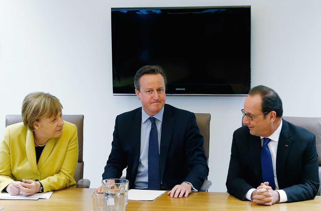 Merkel, Cameron och Hollande.
