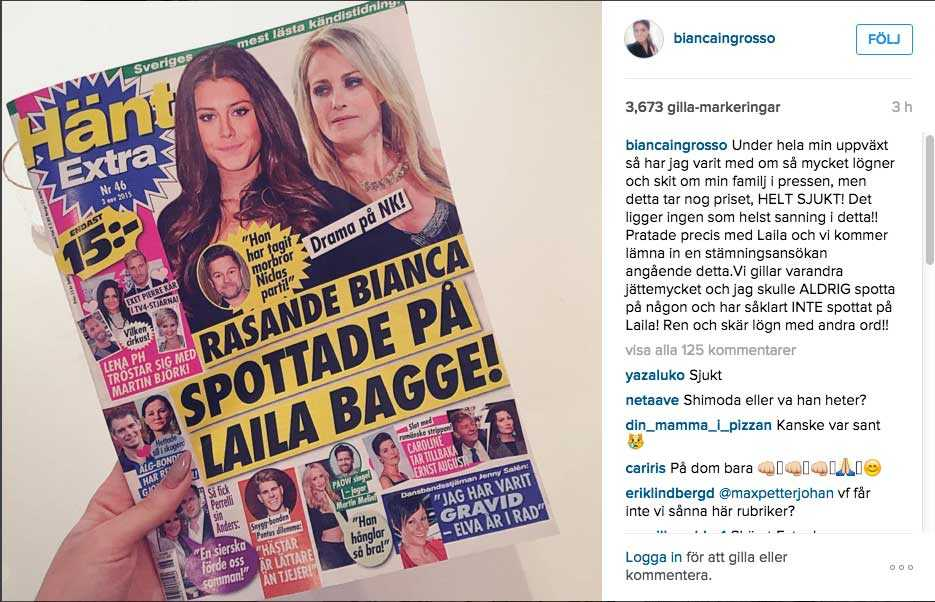 Bianca Ingrosso på Instagram.