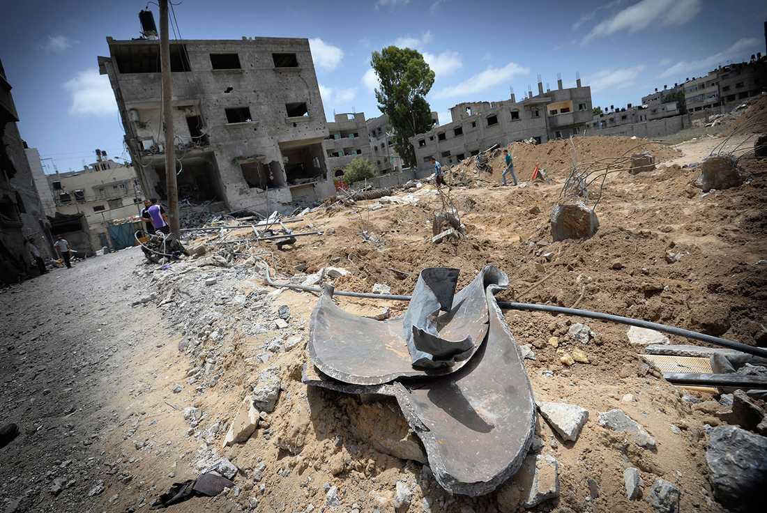 Bråte i Gaza efter flygattackerna.