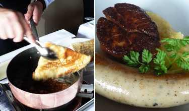 Klassiker Crêpen flamberas i calvados i matsalen och serveras med kardemummaglass. Till höger en av förrätterna, korv på pilgrimsmussla med potatiscréme.
