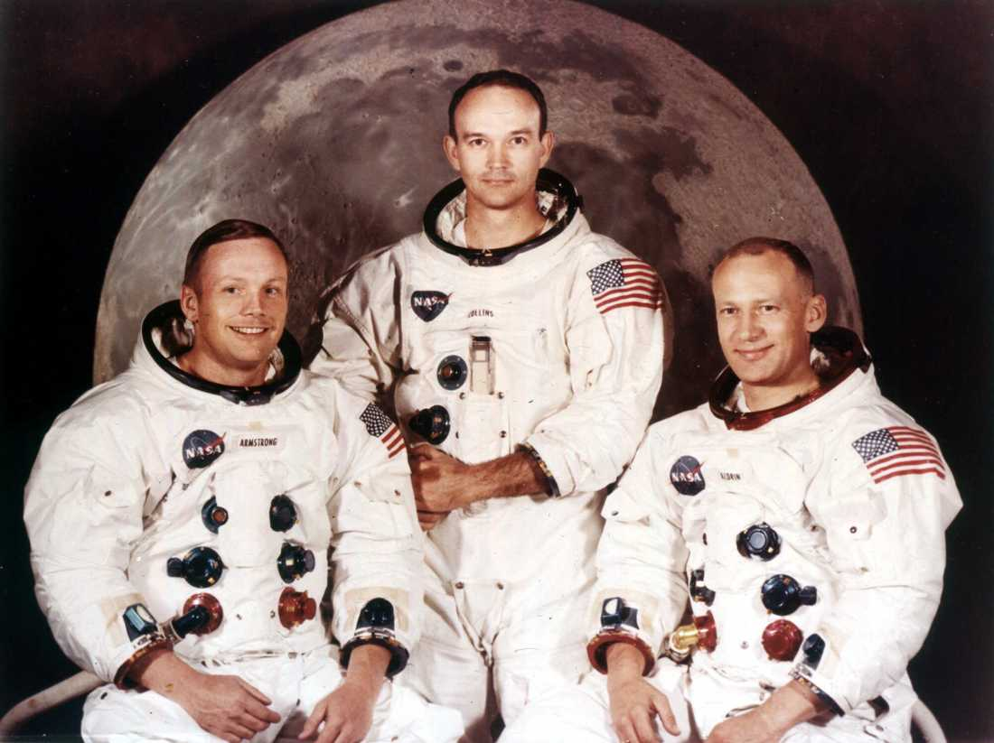 """De tre astronauterna på Apollo 11. Från vänster: Neil Armstrong, Michael Collins och Edwin """"Buzz"""" Aldrin."""