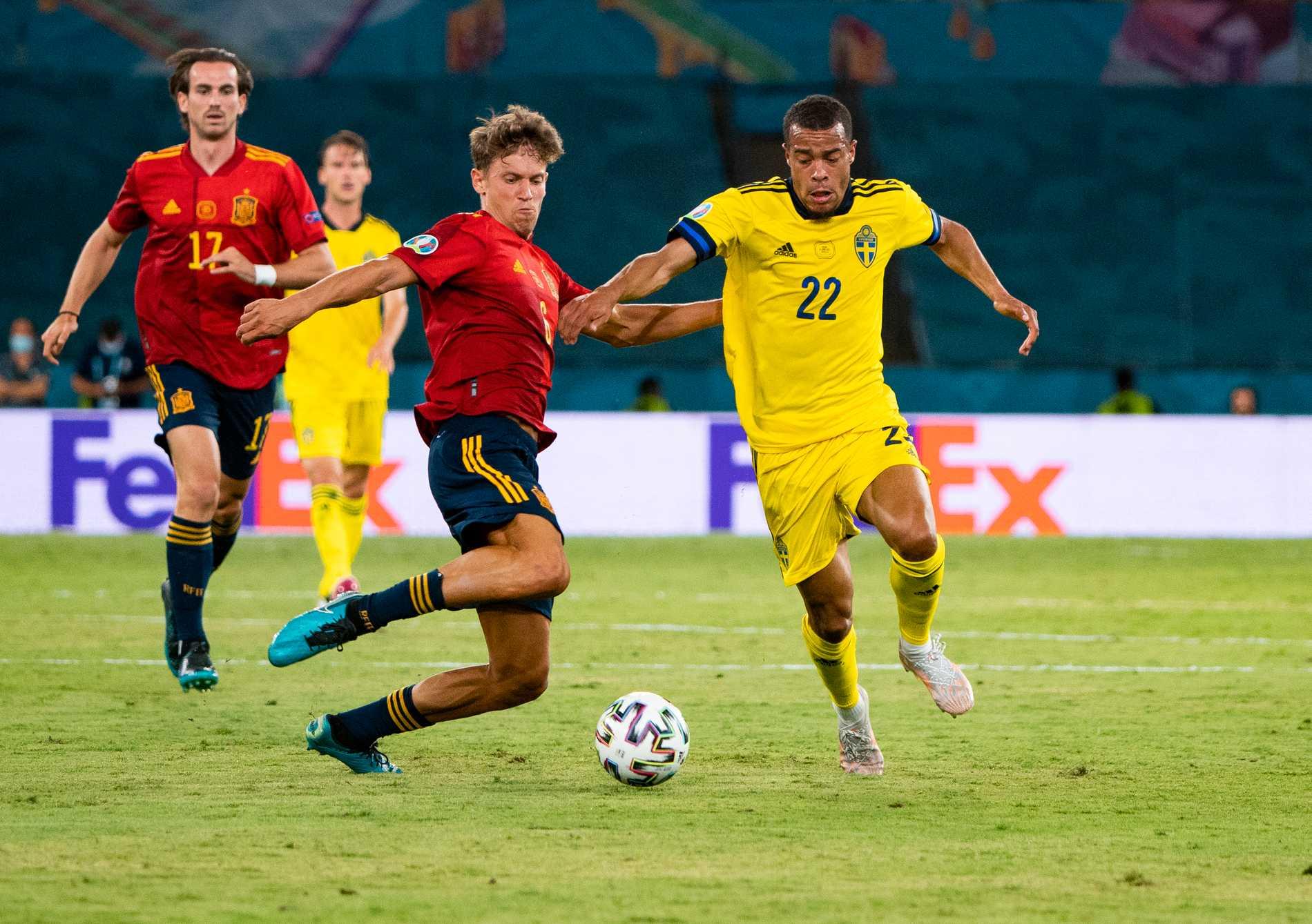 Robin Quaison i EM-matchen mot Spanien.