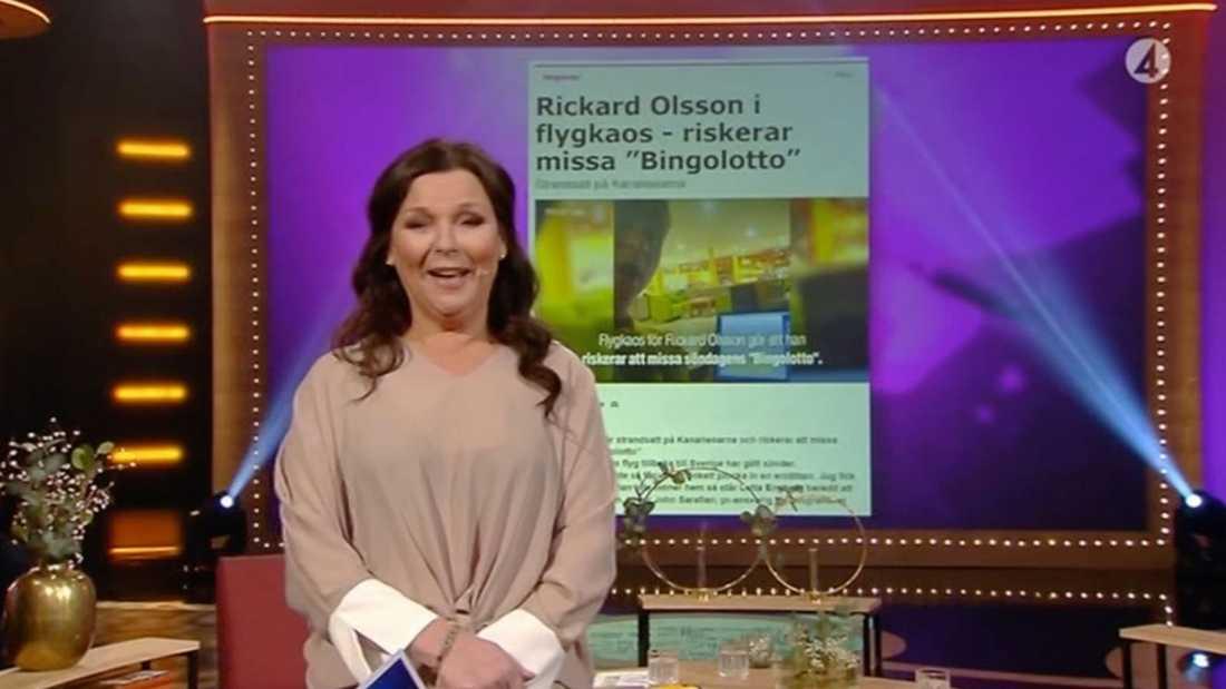 """När """"Bingolotto"""" drog igång kl 18 på söndagskvällen var det Lotta Engberg som stod framför kameran."""