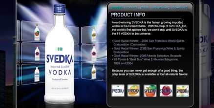 Svensk Svedka lanseras som svensk vodka och pryds av en svenska flagga. Nu ska den sponsra en alkoholmissbrukares 21-årsfest.