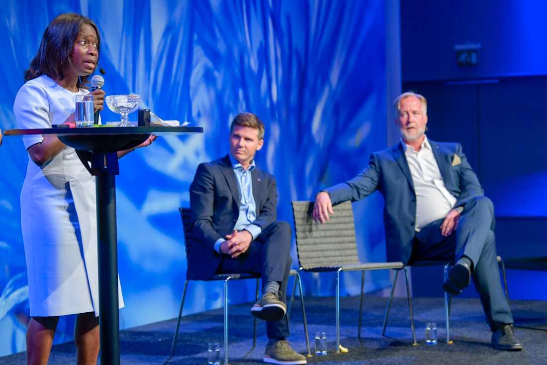 Nyamko Sabuni, Erik Ullenhag och Johan Pehrson under Liberalernas turné med utfrågning av partiledarkandidaterna som inleds i Stockholm.