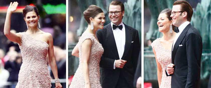 Victoria och Daniel var på strålande humör när de anlände till Konserthuset vid Hötorget på fredagkvällen.