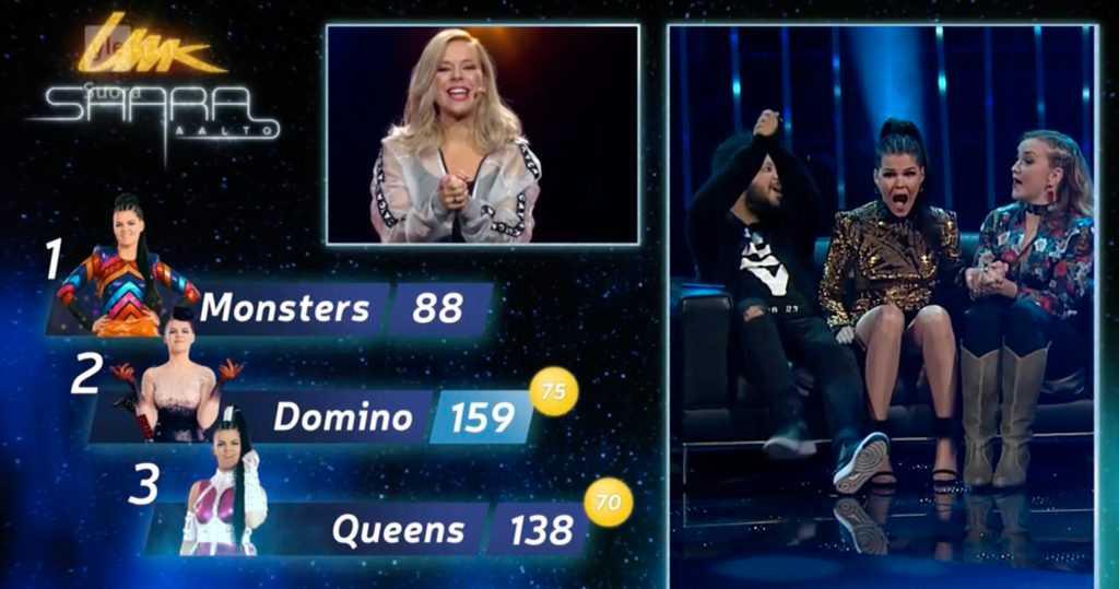 Glädje i direktsändning. Joy och Linnea Deb har precis vunnit den finska uttagningen till Eurovision song contest tillsammans med artisten Saara Aalto. Men nu får de inte följa med till Lissabon.