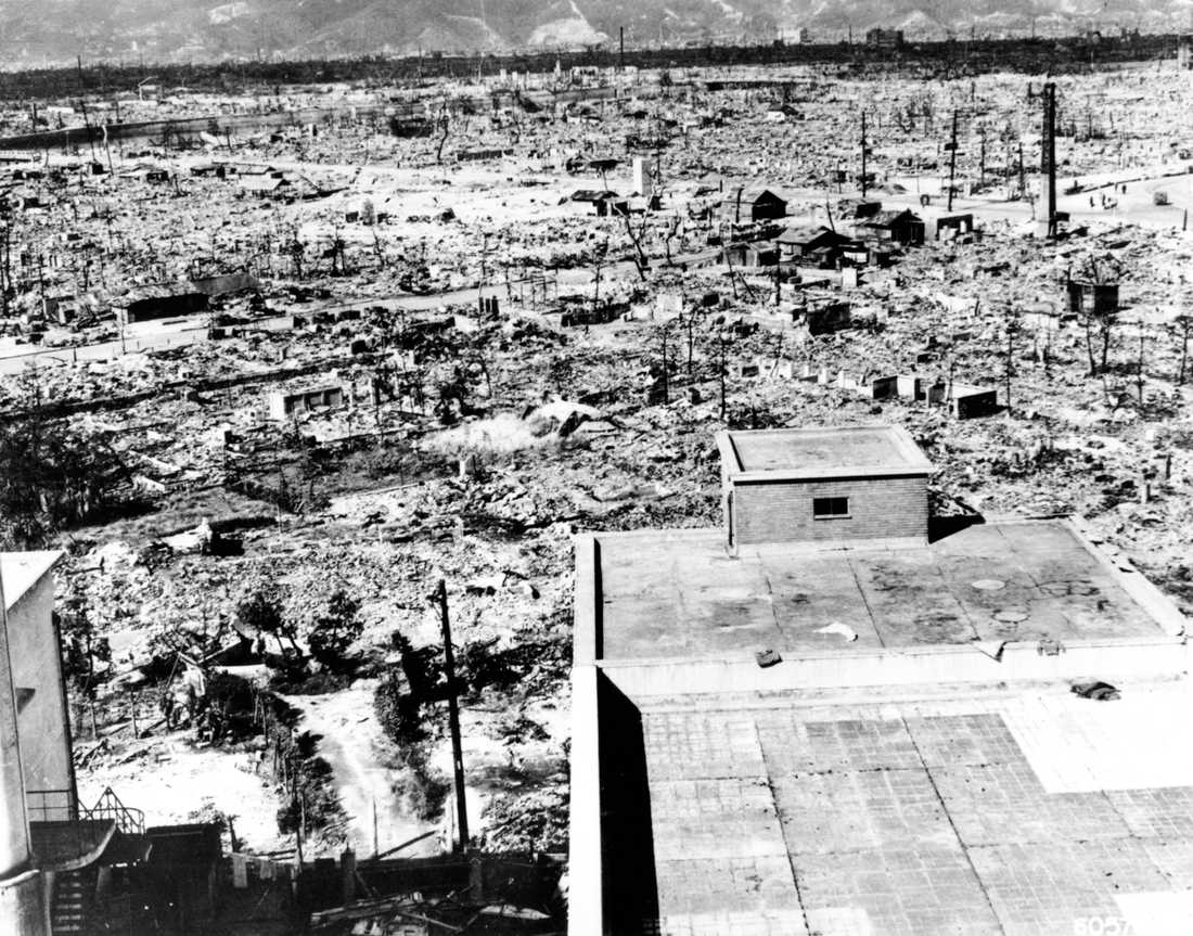 Hiroshima Staden är fotad från Röda Korsets bas, cirka en kilometer från explosionens epicentrum.