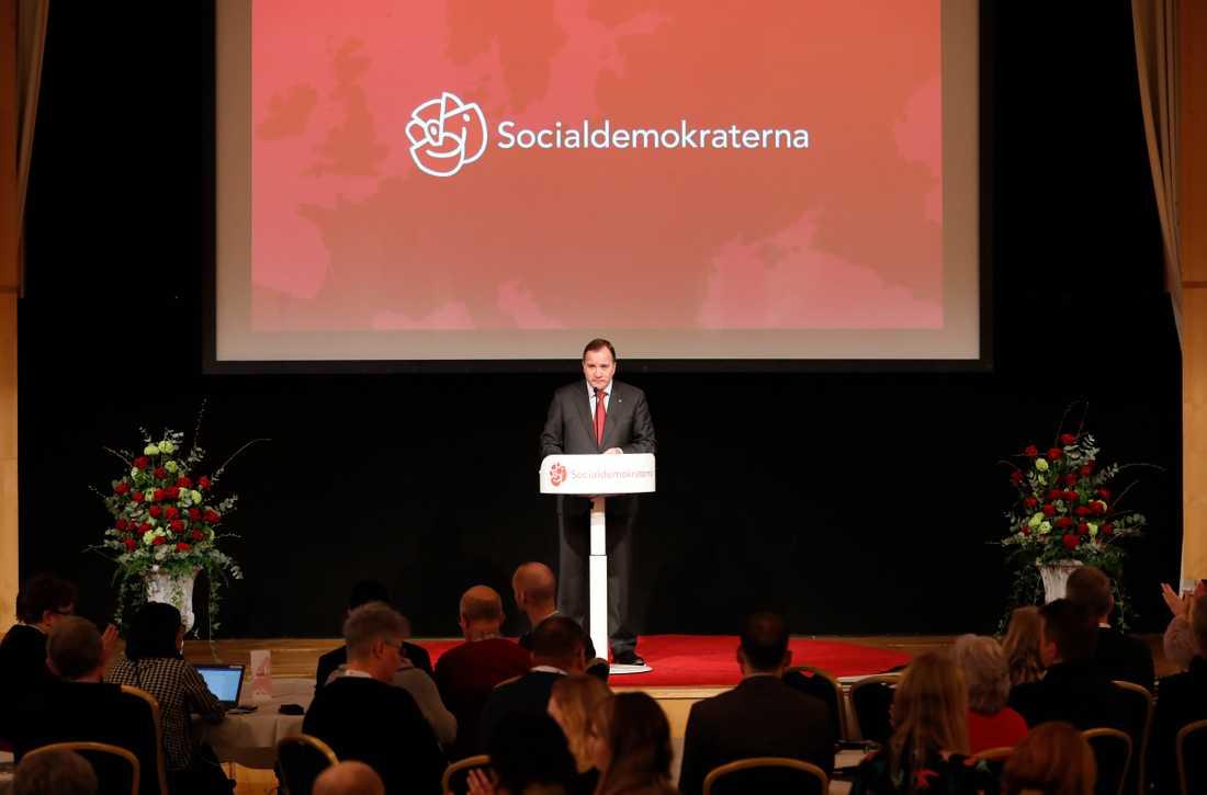 Statsminister Stefan Löfven på Socialdemokraternas EU-valskonferens.