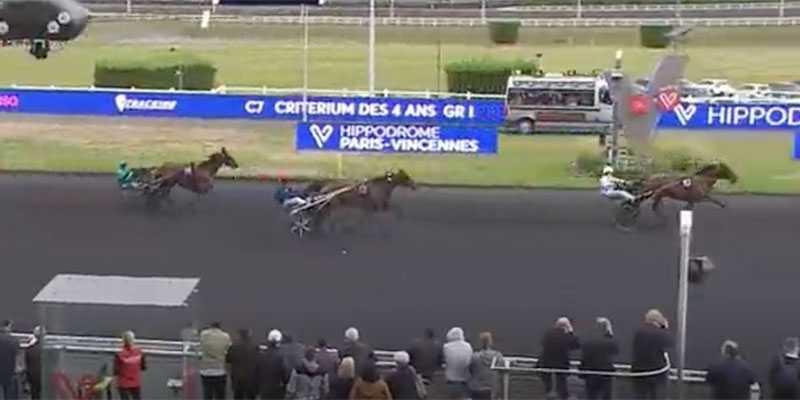 Här vinner Go On Boy fyraårings-Kriteriet i Frankrike. Nu utredes hästen efter ett positivt dopningsprov i samband med storloppet.