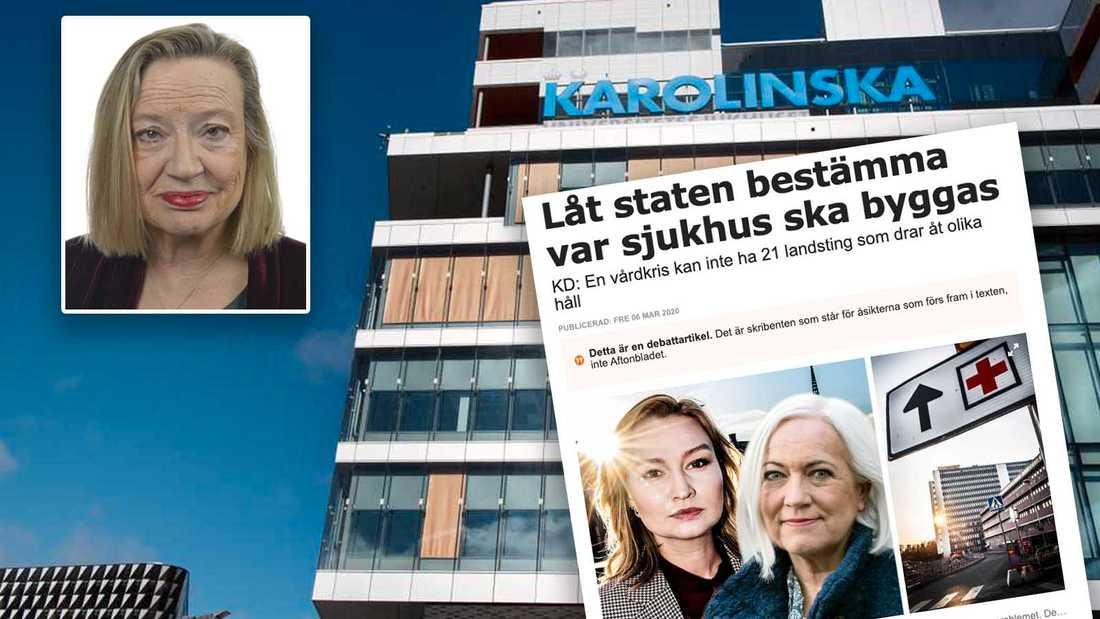 """KDs försök att profilera sig som """"vårdpartiet"""" är lika genomskinligt som falskt. Diagnosen kan kallas Ebba by Proxy - svensk vård mår bättre utan den, skriver Karin Rågsjö (V) i en replik."""