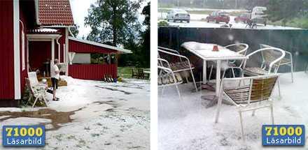 Curt Ljungboms gräsmatta blev vit, liksom terassen utanför Angelica Åsbergs arbete.