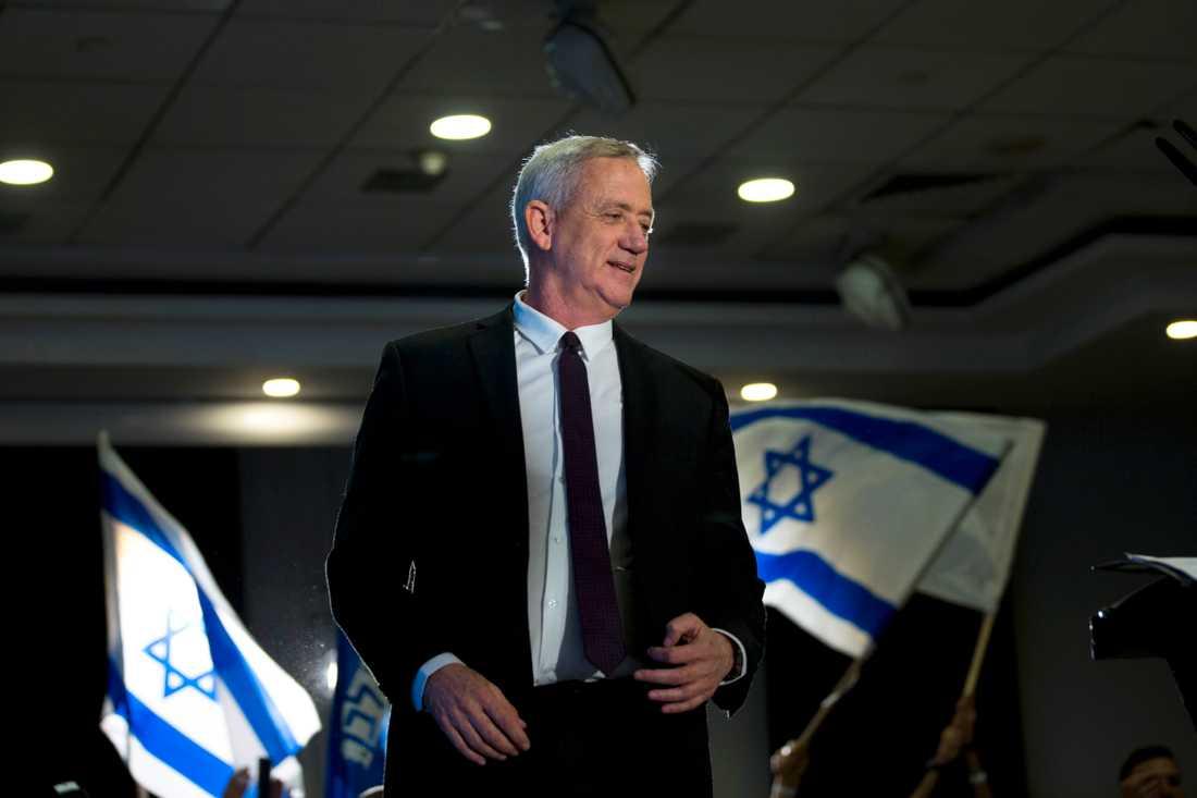 Blåvita alliansens Benny Gantz vill inte samregera med Netanyahu. Arkivbild.