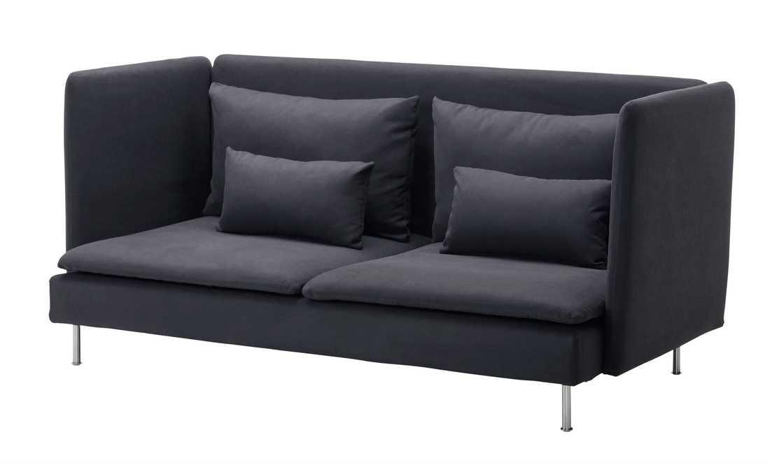 """Söderhamn soffa """"Ser skör och obalanserad ut med smala sidor. Oinbjudande och hård? Bör kanske provas att sitta i, men designmässigt tilltalar den mig inte alls. Dessutom ser tyget ut att sitta löst..."""""""