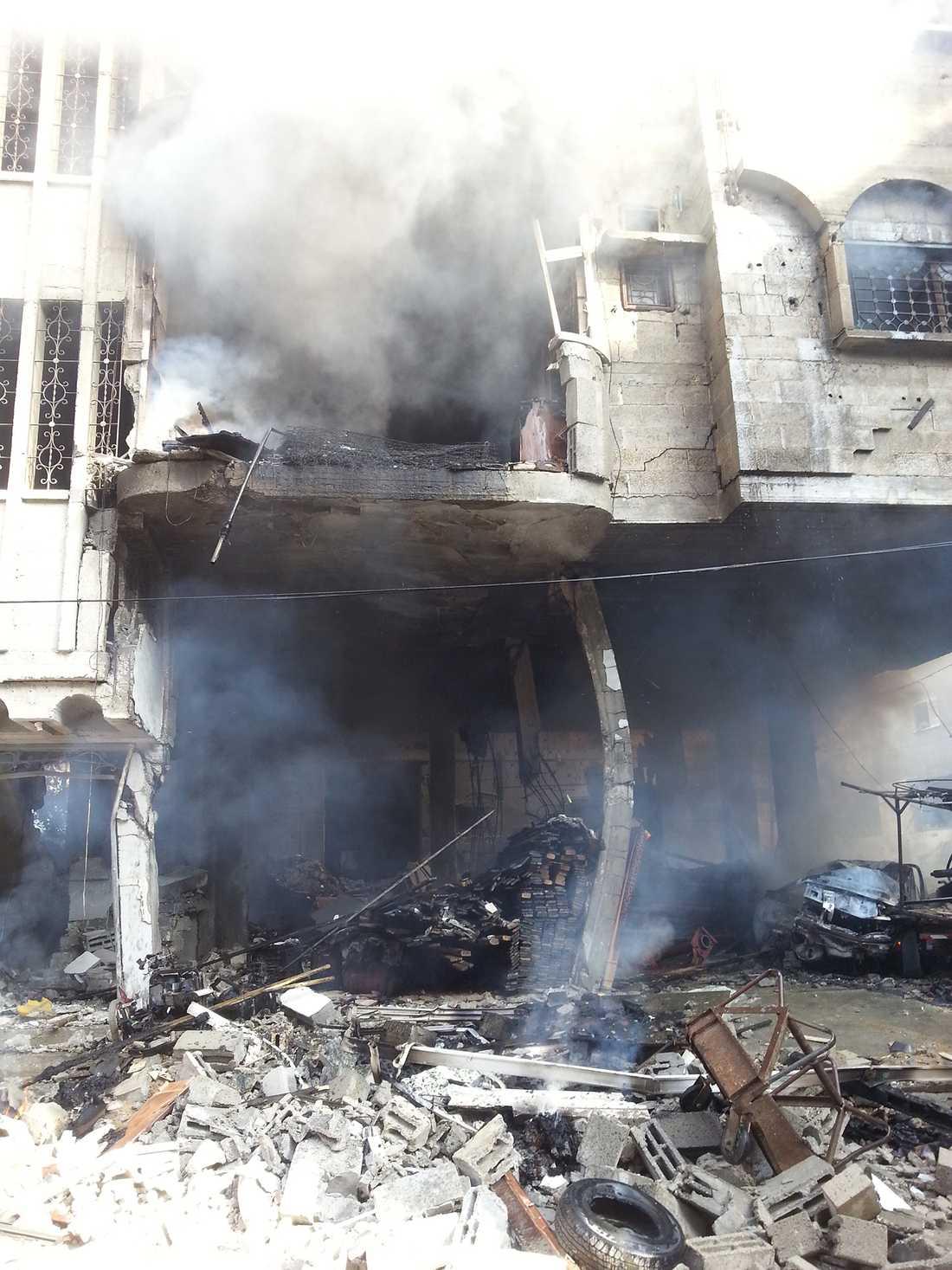 Ett bombat hus i Belal Gaza.