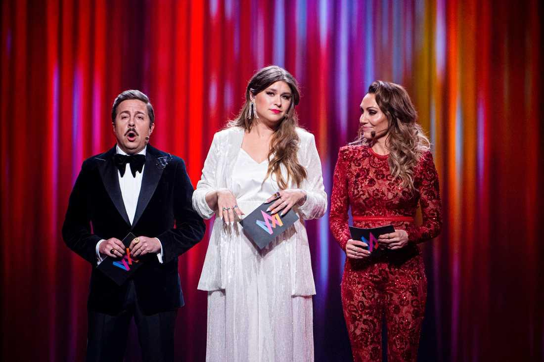 David Sundin, Linnea Henriksson och Lina Hedlund leder Melodifestivalen i år.