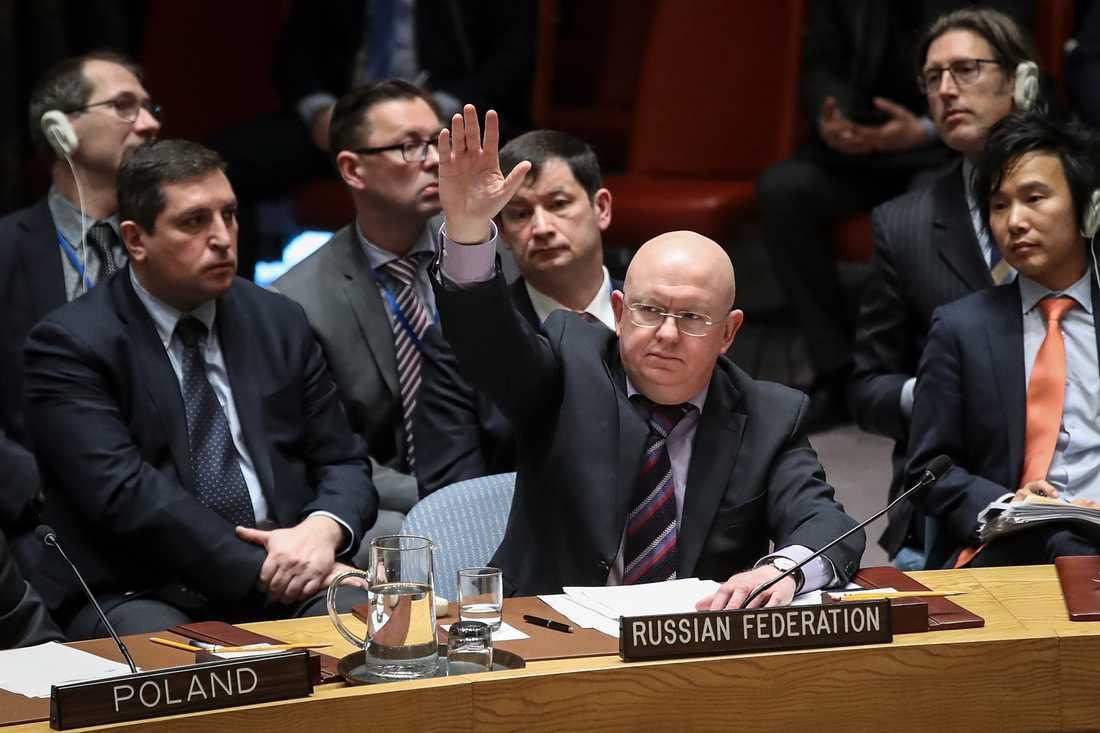 Den ryske FN-ambassadören Vassilij Nebenzia utnyttjade landets vetorätt i FN för tolfte gången när det gäller åtgärder mot Assad-regimen i Syrien.