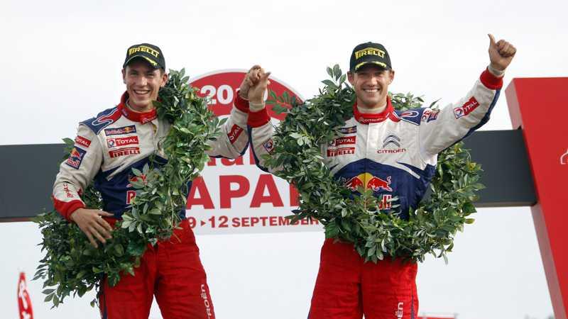 Sébastien Ogier, till höger, och hans co-driver Julien Ingrassia vann Rally Japan.