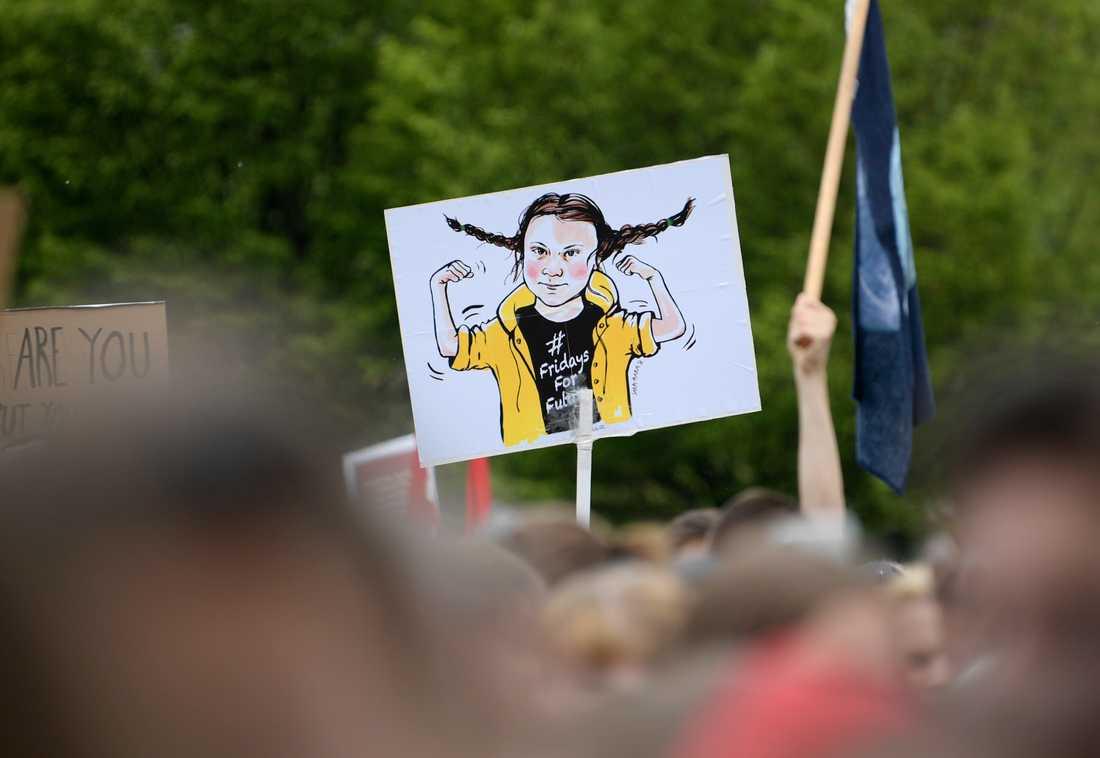 Greta Thunberg ritad som Pippi Långstrump på ett plakat under demonstrationen Global Strike for Future i Stockholm i maj i fjol. Arkivbild.