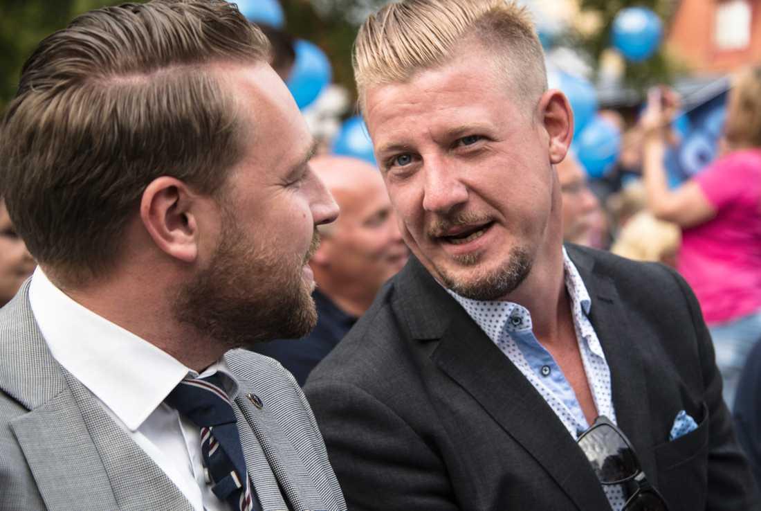 SD:s mediepolitiske talesperson Linus Bylund tillsammans med Mattias Karlsson, tidigare gruppledare för SD.