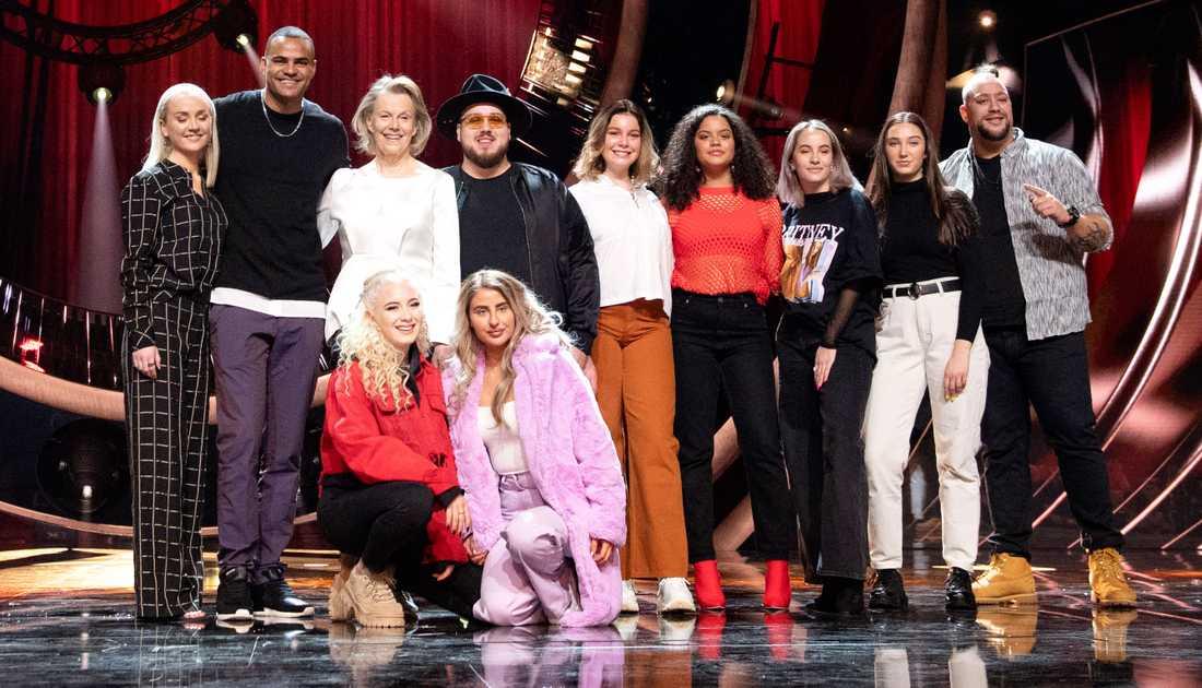 Artisterna Anna Bergendahl, Mohombi, Arja Saijonmaa, Anis Don Demina, High 15, Nano ocg Wictoria deltar i den första deltävlingen av Melodifestivalen 2019.
