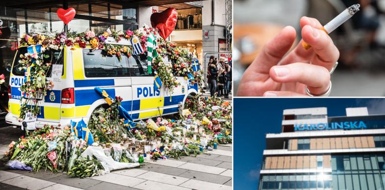 Polishyllning efter terrordådet på Drottninggatan, en rökare och Karolinska.