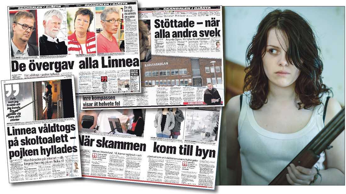 """Aftonbladets bevakning av Bjästafallet i mars 2010. Till höger en bild ur filmen """"Flocken"""" som är inspirerad av händelserna i Bjästa."""