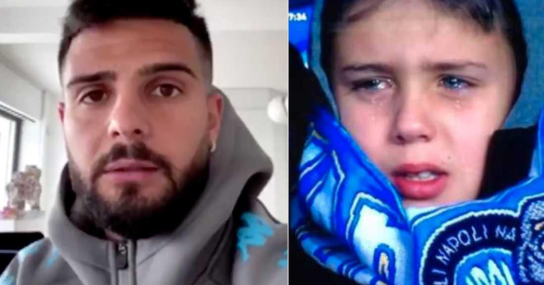 Lorenzo Insigne bad om ursäkt till Mario, 9, efter förlusten.