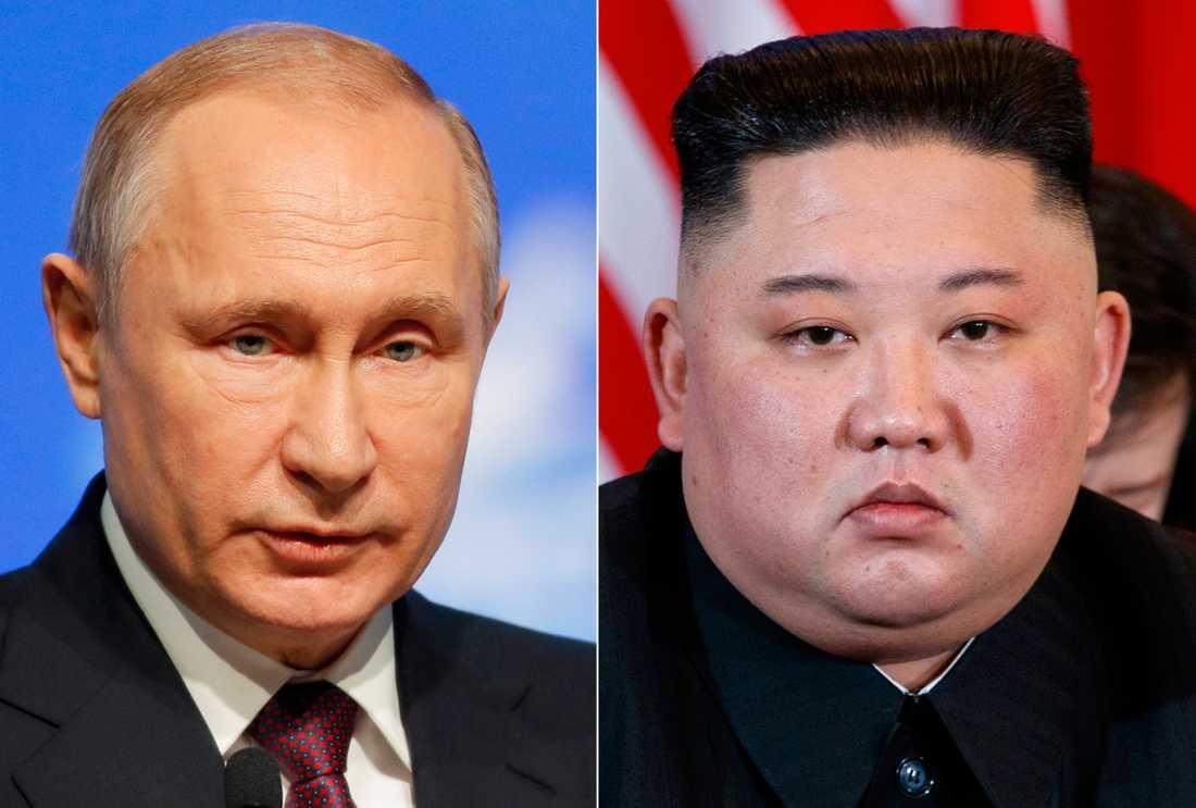Rysslands president Vladimir Putin och Nordkoreas ledare Kim Jong-Un. Arkivbilder.