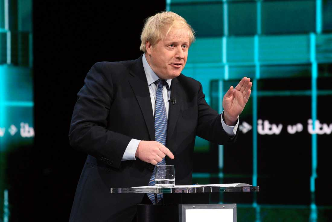 Premiärministern Boris Johnson under debatten.