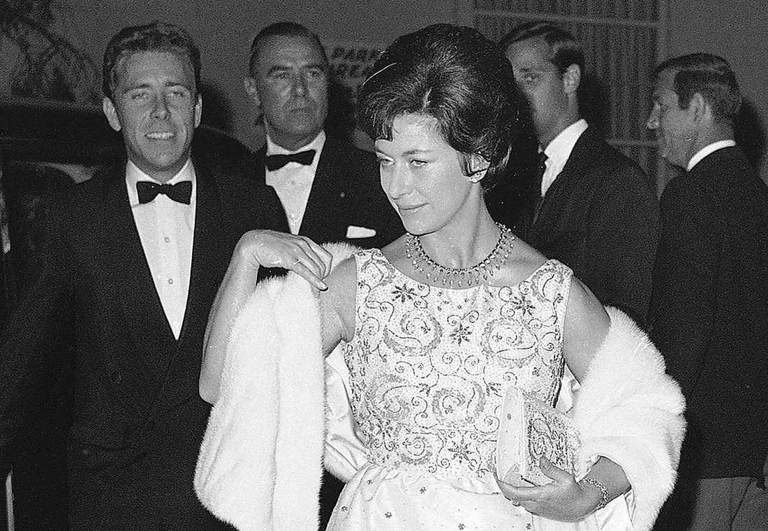 Prinsessan Margaret anländer till en fest i Beverly Hills, Kalifornien, 1965.