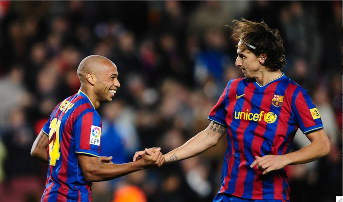 Henry och Zlatan i Barça. Foto: AP/Manu Fernandez