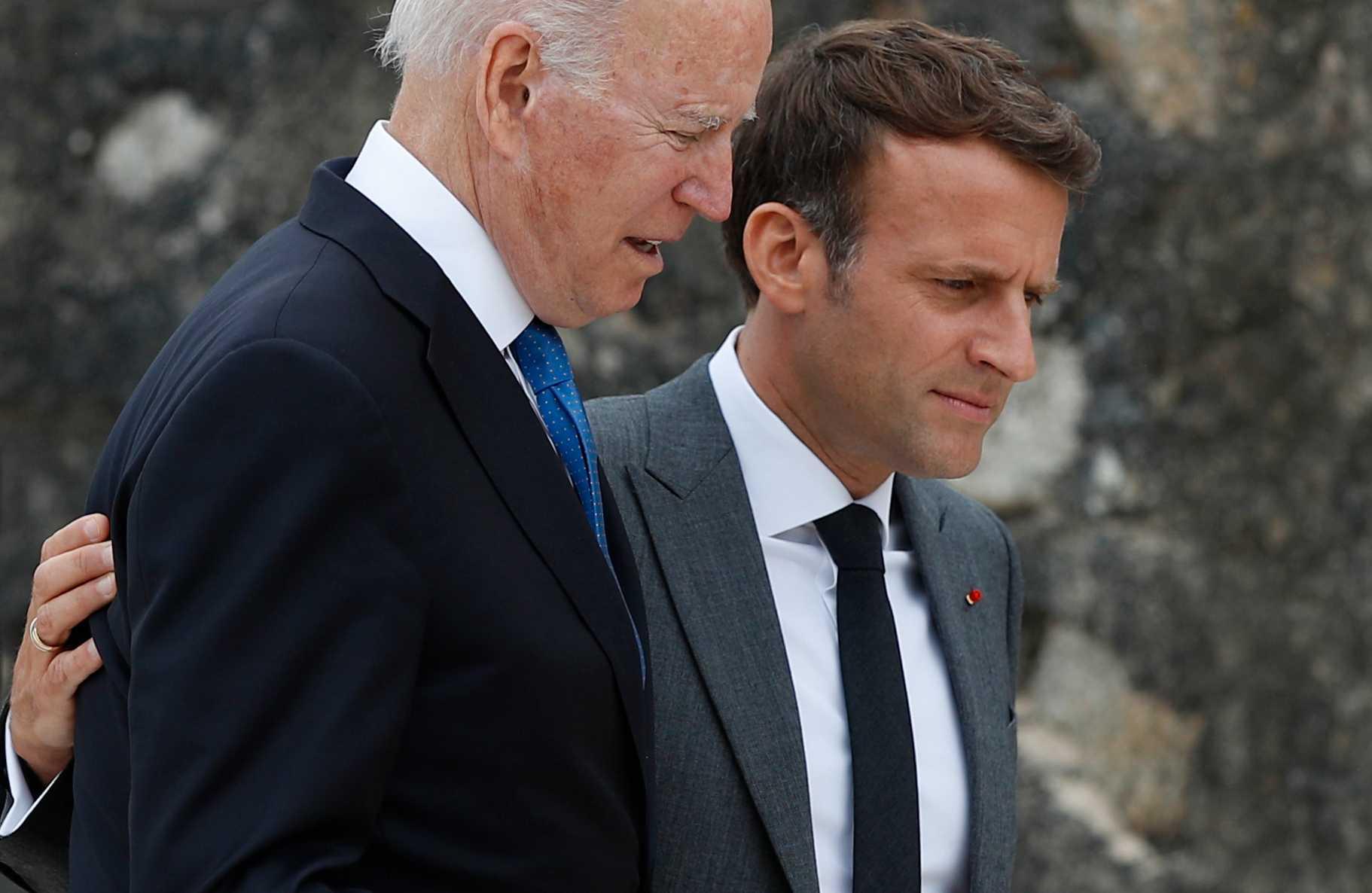 USA:s president Joe Biden, Frankrikes president Emmanuel Macron och de andra ledarna på G7-mötet i Cornwall vill ha ett globalt golv för bolagsskatten på minst 15 procent
