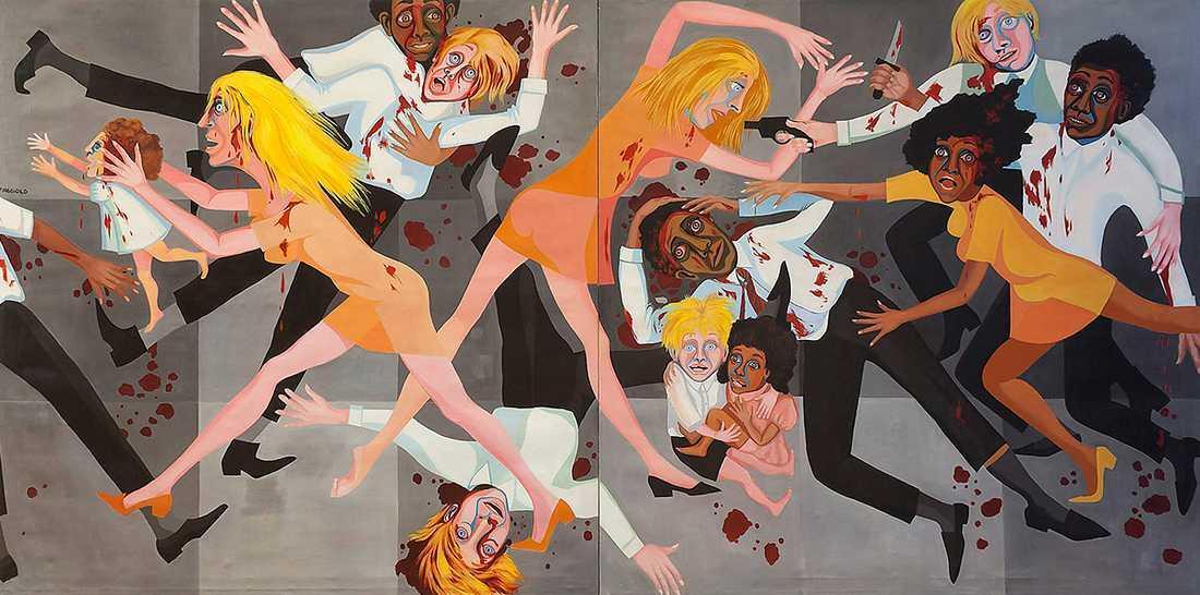"""Faith Ringgold, """"American people series"""" no 20: Die"""", 1967. Olja på duk."""