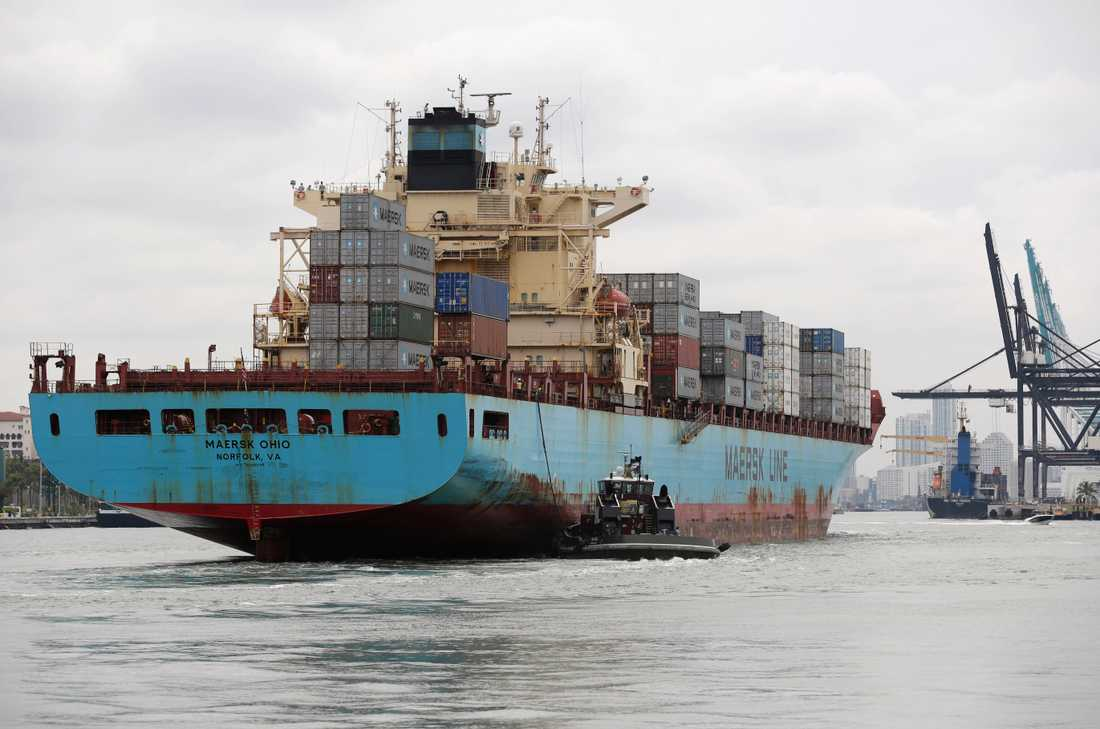 Ett containerskepp från det danska rederiet Maersk Line deltog i sjöräddningsinsatserna. Arkivbild.