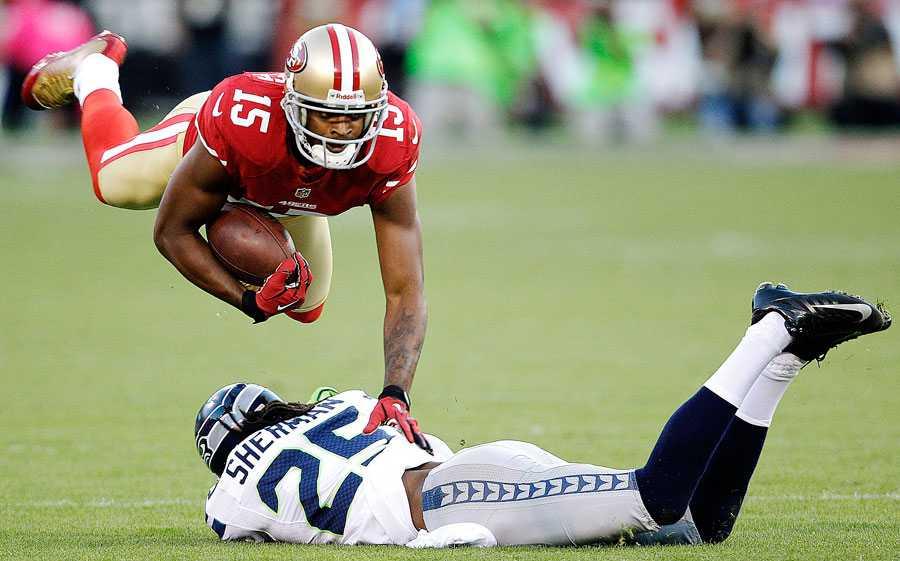 Michael Crabtree, WR, San Francisco 49ers 49ers bästa alternativ när man passar bollen har fått ett lyft under andra halvan av säsongen. Crabtree har bra händer och kan hantera fysisk kontakt. Dessutom har han bättre kemi med sin QB, Colin Kaepernick.