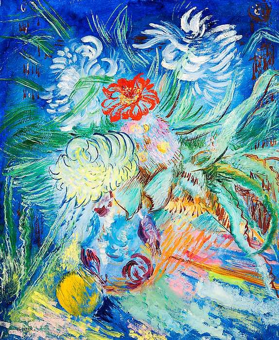 """""""Blommor i blått"""", 1934. Olja på duk."""