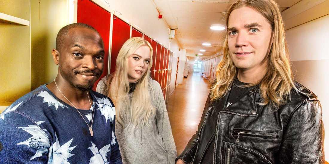 Kodjo Akolor, Howlin' Pelle Almqvist och Josefine Jinder.