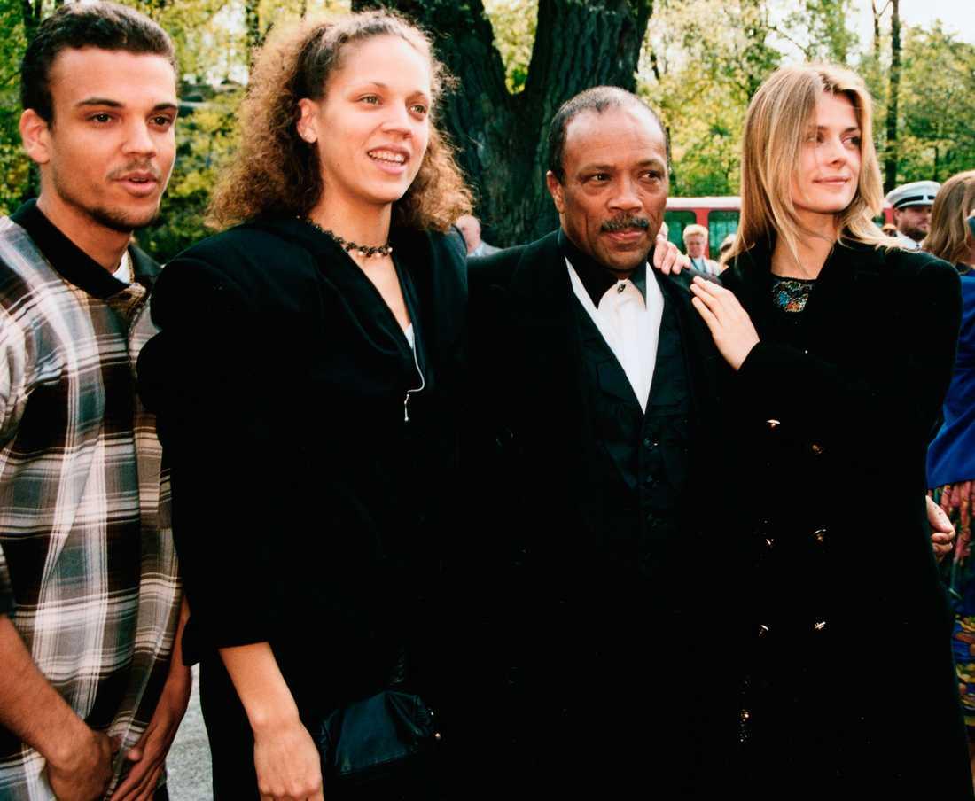 Quincy Jones med Nastassja Kinski och sonen Quincy Delight Jones III