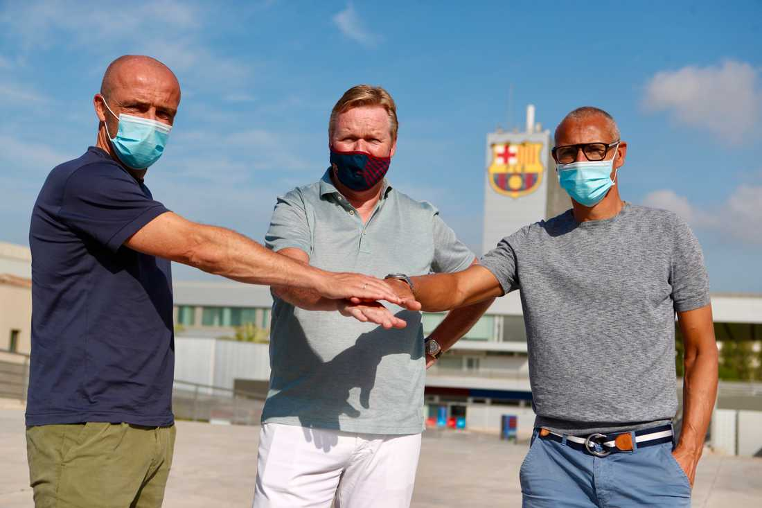 Tränartrion Alfred Schreuder (v), Roenald Koeman (m) och Henrik Larsson (h).