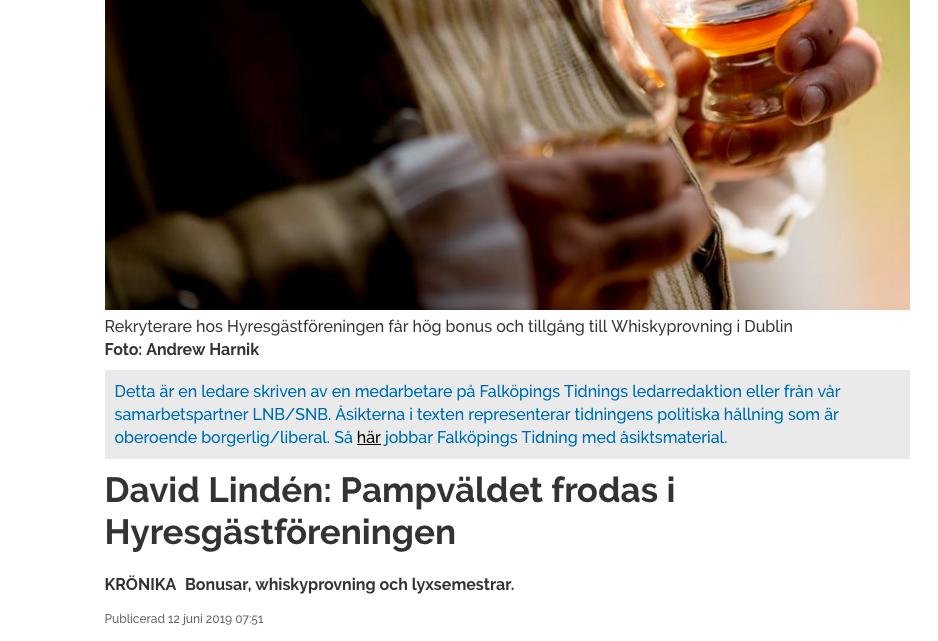 I Falköpings Tidning riktas hård kritik mot Hyresgästföreningen.