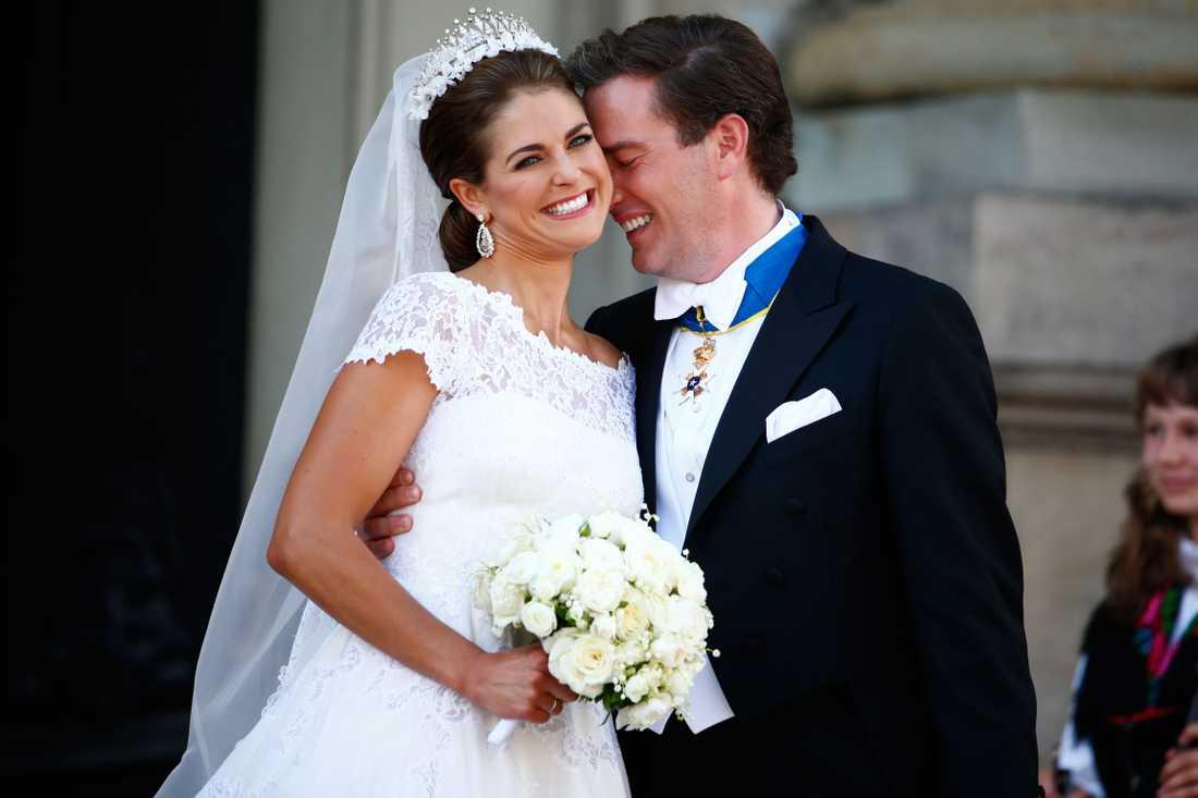 Prinsessan Madeleine och Chris O'Neil när de gifte sig i Stockholm i juni 2013.