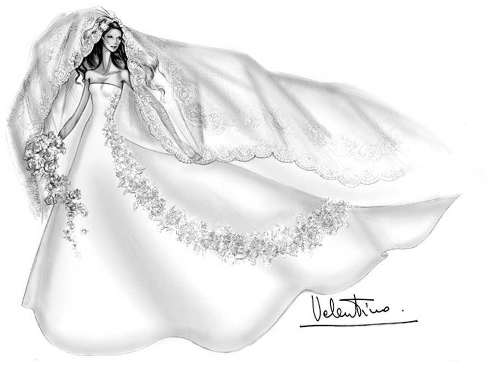 Valentinos skiss på Athina Onassis brudklänning när hon gifte sig med Doda Miranda de Neto 2005.  750 gäster och lika många livvakter var med på den hemliga bröllopsfesten i Brasilien.