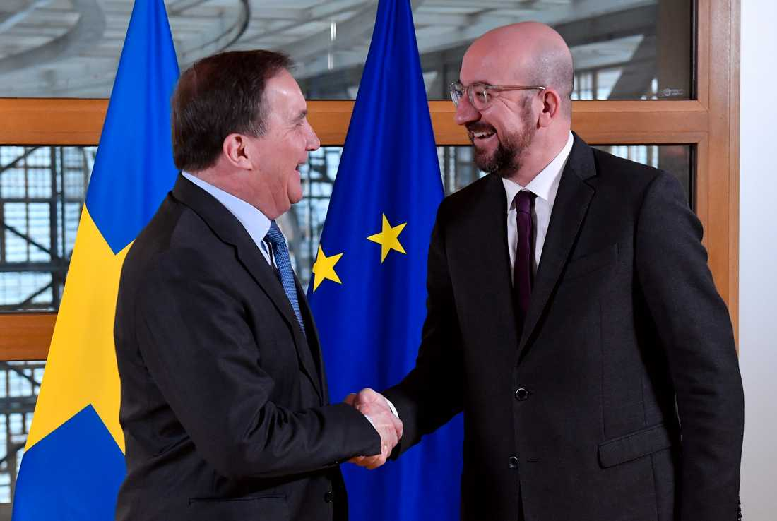 Statsminister Stefan Löfven (S) träffar EU:s permanente rådsordförande Charles Michel. På agendan står de fastlåsta förhandlingarna om EU:s nästa långtidsbudget.