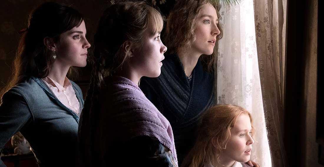 """svensk premiär i dag I nya filmversionen av """"Unga kvinnor"""" syns Emma Watson, Florence Pugh, Saoirse Ronan och Eliza Scanlen i rollerna som Meg, Jo, Amy och Beth March."""