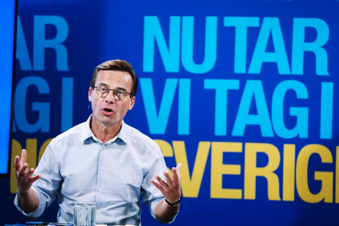 Moderaternas partiledare Ulf Kristersson (M) presenterar Moderaternas valmanifest under lördagen.