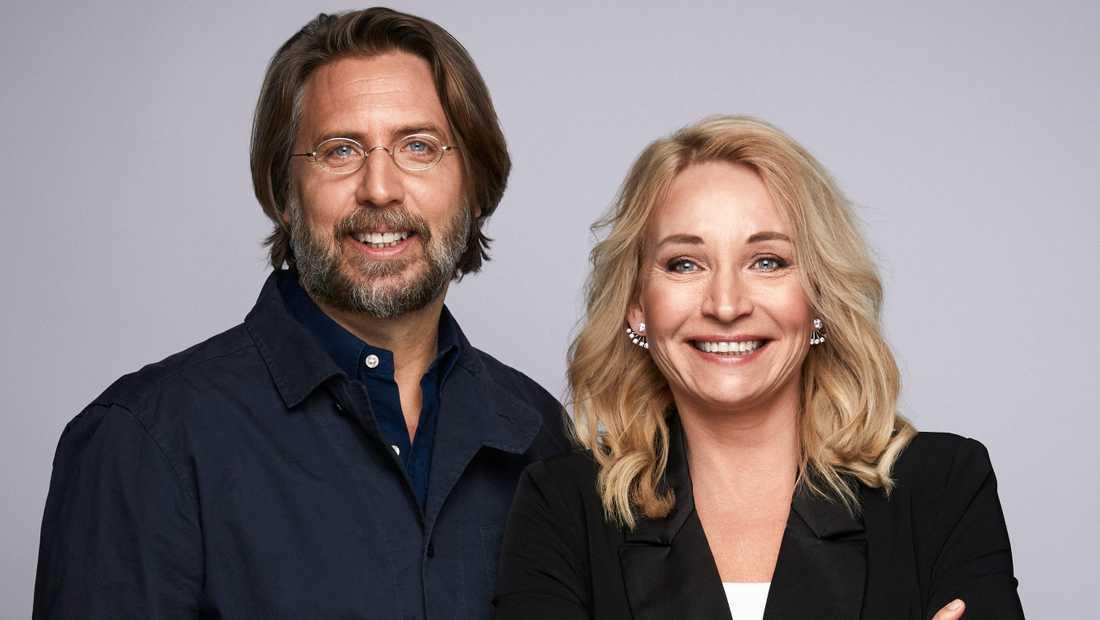 Martina Haags böcker blir film. Här tillsammans med Calle Jansson på produktionsbolaget Bigster. Pressbild.