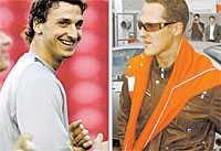 Kungamötet När Zlatan kom för att hämta ut sin nya Ferrari fanns bästa tänkbara rådgivare på plats – Michael Schumacher.