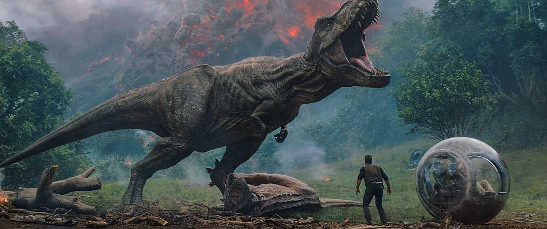 Vulkanutbrott och t-rex.